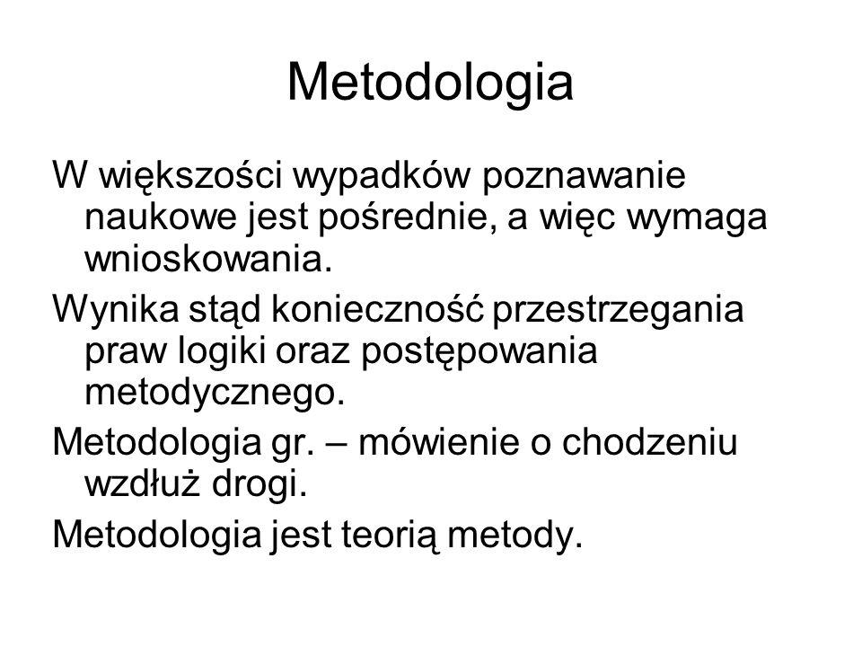 Metodologia W większości wypadków poznawanie naukowe jest pośrednie, a więc wymaga wnioskowania.