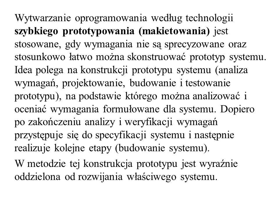 Wytwarzanie oprogramowania według technologii szybkiego prototypowania (makietowania) jest stosowane, gdy wymagania nie są sprecyzowane oraz stosunkowo łatwo można skonstruować prototyp systemu. Idea polega na konstrukcji prototypu systemu (analiza wymagań, projektowanie, budowanie i testowanie prototypu), na podstawie którego można analizować i oceniać wymagania formułowane dla systemu. Dopiero po zakończeniu analizy i weryfikacji wymagań przystępuje się do specyfikacji systemu i następnie realizuje kolejne etapy (budowanie systemu).