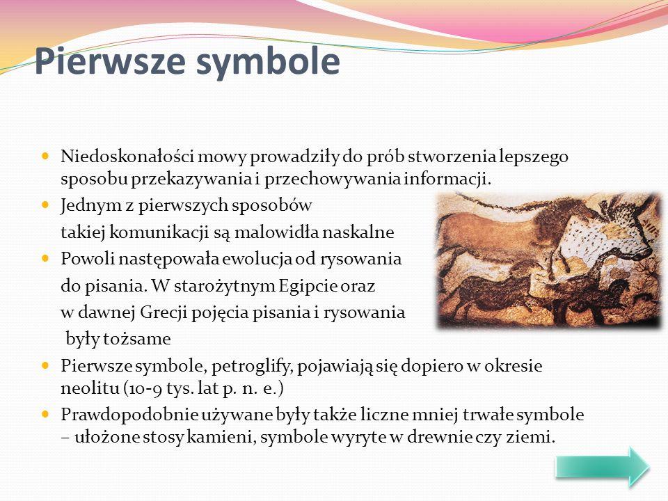 Pierwsze symbole Niedoskonałości mowy prowadziły do prób stworzenia lepszego sposobu przekazywania i przechowywania informacji.