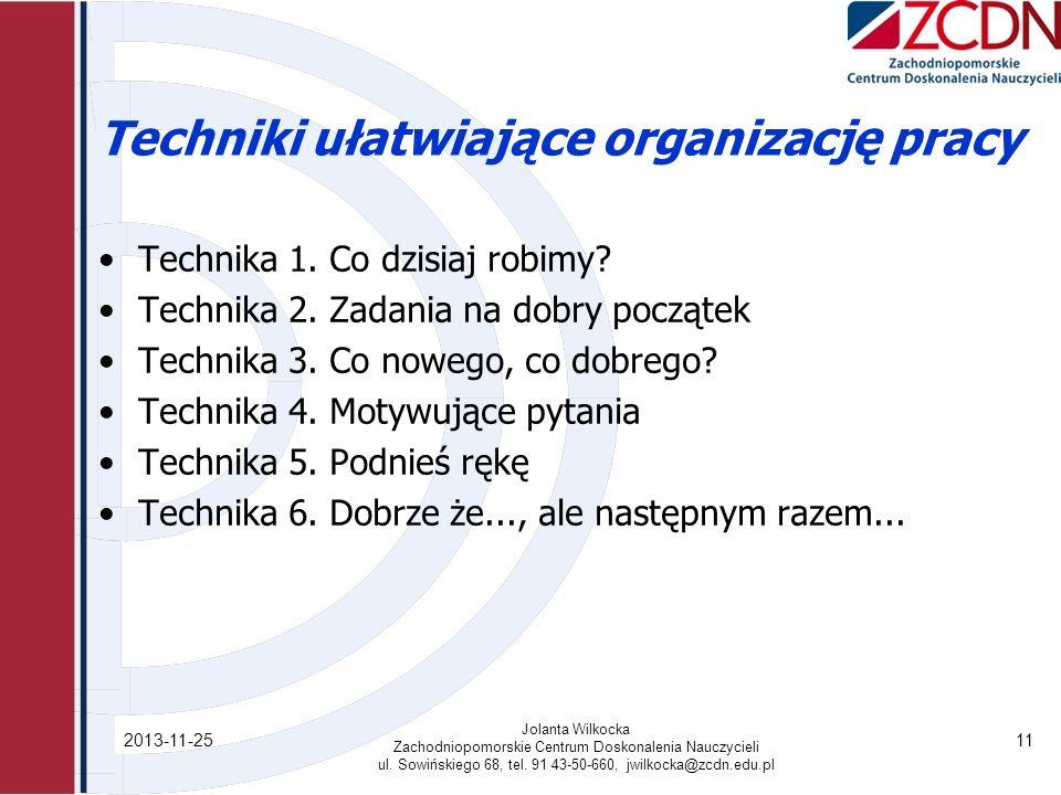 Techniki ułatwiające organizację pracy