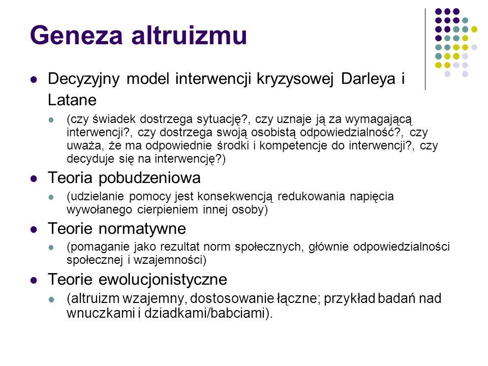 Geneza altruizmu Decyzyjny model interwencji kryzysowej Darleya i Latane.