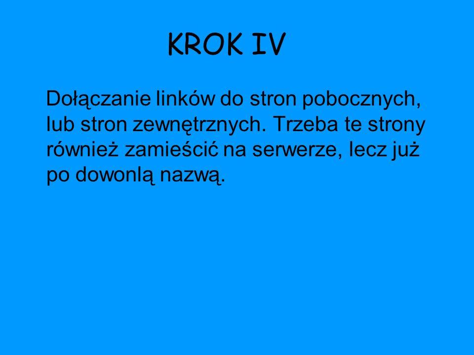 KROK IV Dołączanie linków do stron pobocznych, lub stron zewnętrznych.