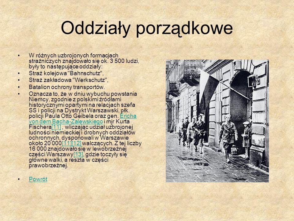 Oddziały porządkowe W różnych uzbrojonych formacjach strażniczych znajdowało się ok. 3 500 ludzi, były to następujące oddziały: