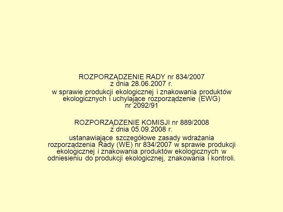 ROZPORZĄDZENIE RADY nr 834/2007 z dnia 28.06.2007 r.