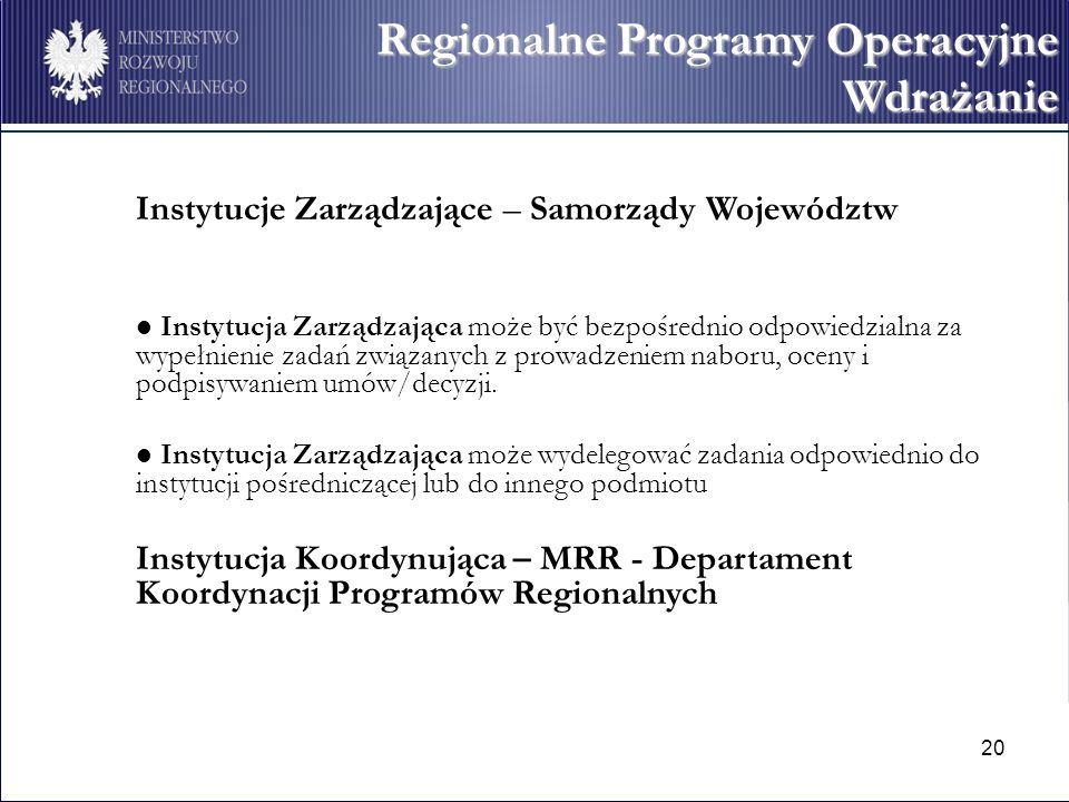 Regionalne Programy Operacyjne Wdrażanie