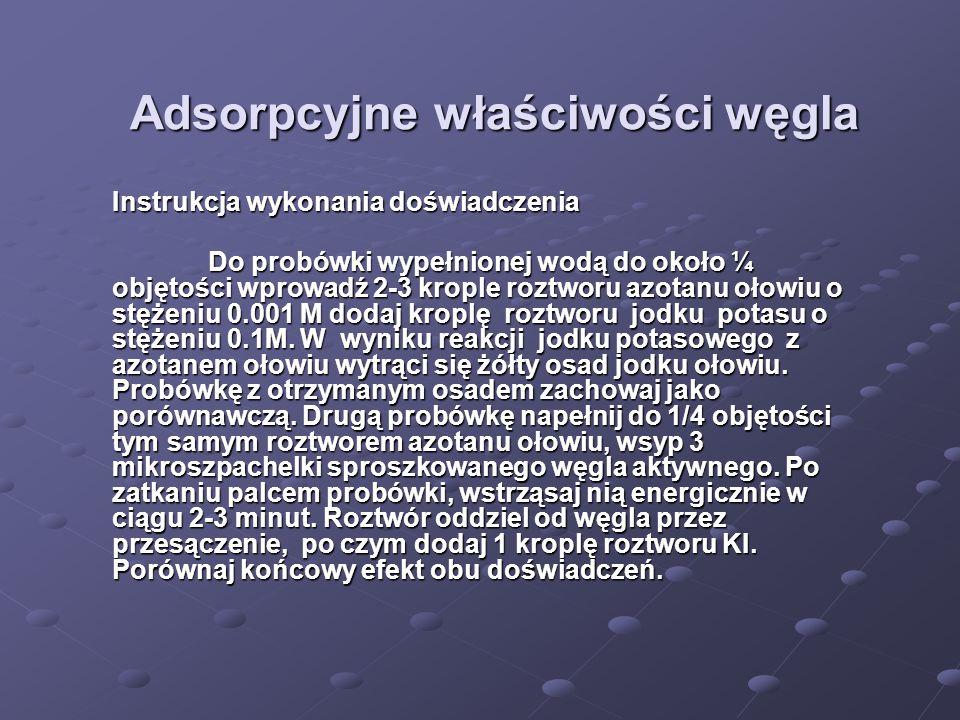 Adsorpcyjne właściwości węgla