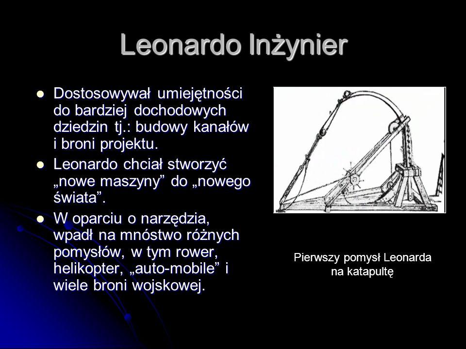 Pierwszy pomysł Leonarda na katapultę