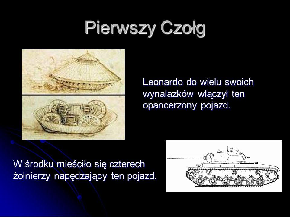 Pierwszy CzołgLeonardo do wielu swoich wynalazków włączył ten opancerzony pojazd.