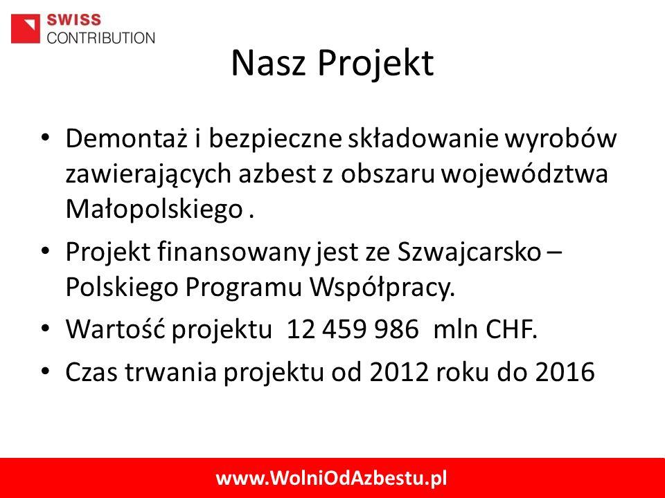 Nasz Projekt Demontaż i bezpieczne składowanie wyrobów zawierających azbest z obszaru województwa Małopolskiego .