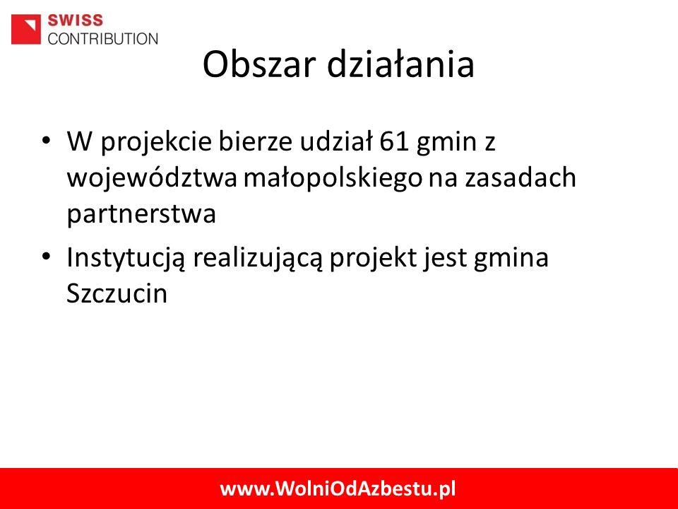 Obszar działania W projekcie bierze udział 61 gmin z województwa małopolskiego na zasadach partnerstwa.