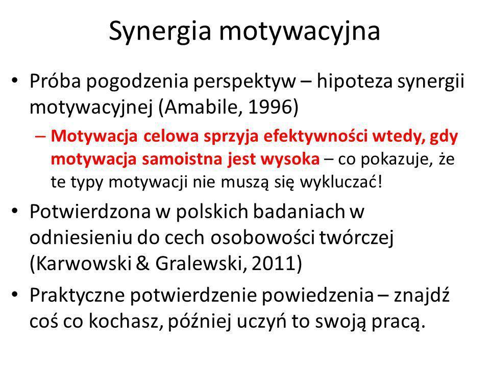 Synergia motywacyjnaPróba pogodzenia perspektyw – hipoteza synergii motywacyjnej (Amabile, 1996)