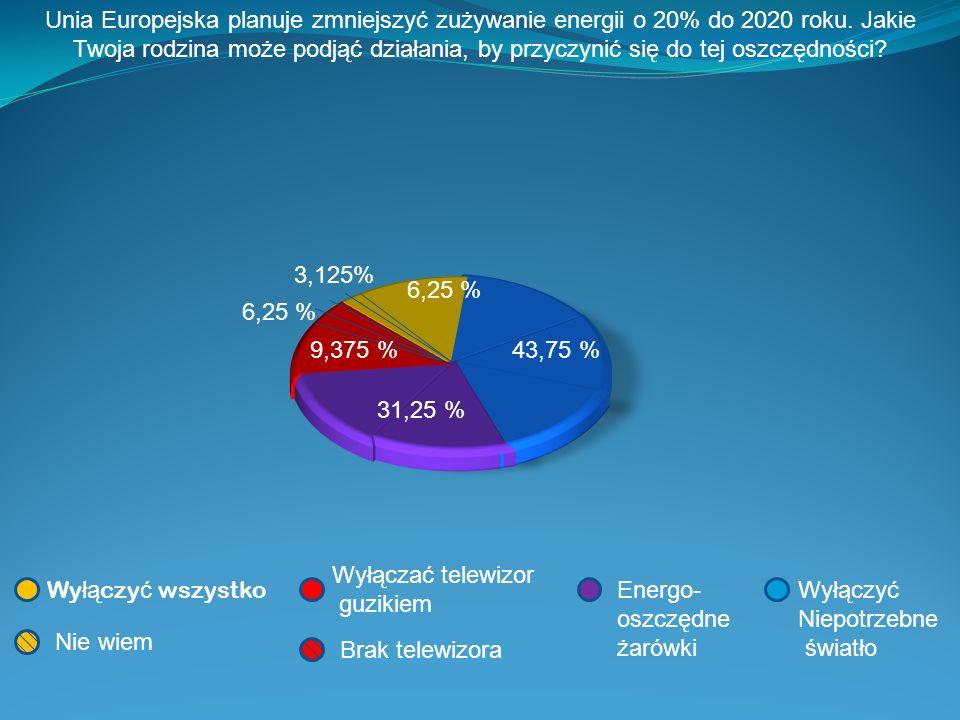 Unia Europejska planuje zmniejszyć zużywanie energii o 20% do 2020 roku. Jakie Twoja rodzina może podjąć działania, by przyczynić się do tej oszczędności