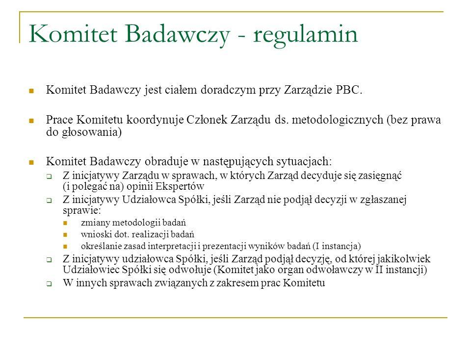 Komitet Badawczy - regulamin