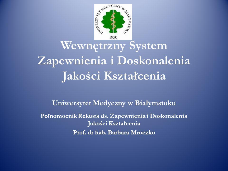 Wewnętrzny System Zapewnienia i Doskonalenia Jakości Kształcenia Uniwersytet Medyczny w Białymstoku