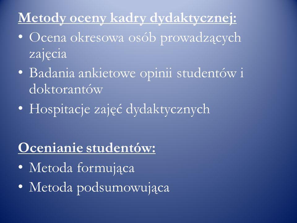 Metody oceny kadry dydaktycznej:
