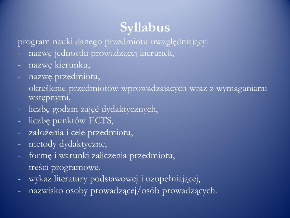 Syllabus program nauki danego przedmiotu uwzględniający: