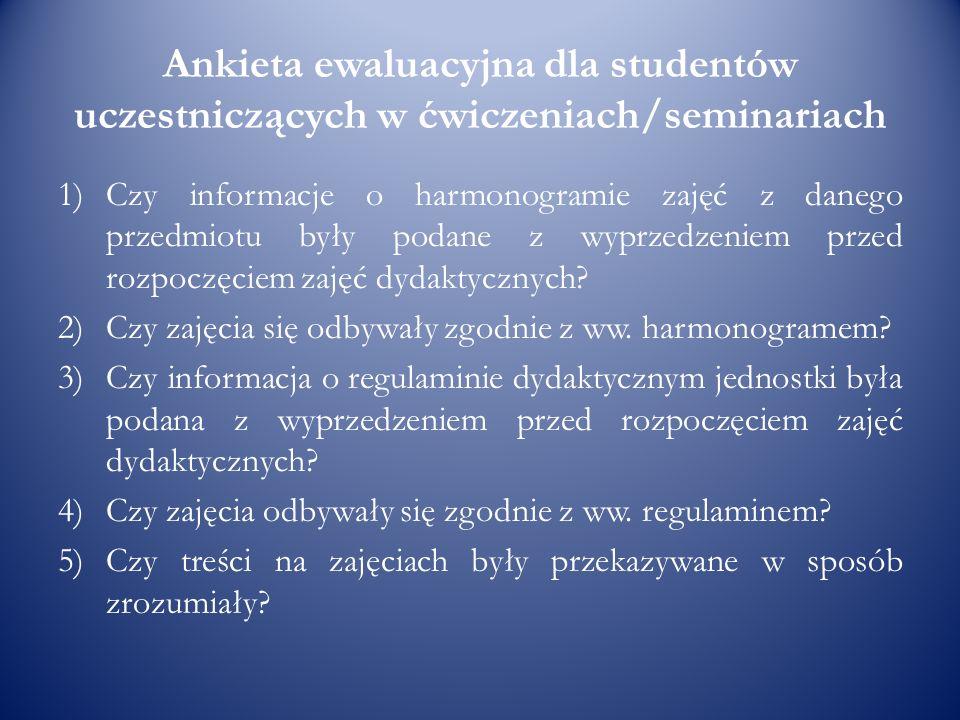 Ankieta ewaluacyjna dla studentów uczestniczących w ćwiczeniach/seminariach