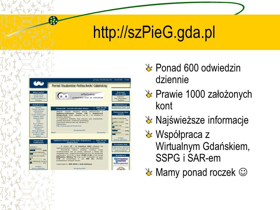 http://szPieG.gda.pl Ponad 600 odwiedzin dziennie