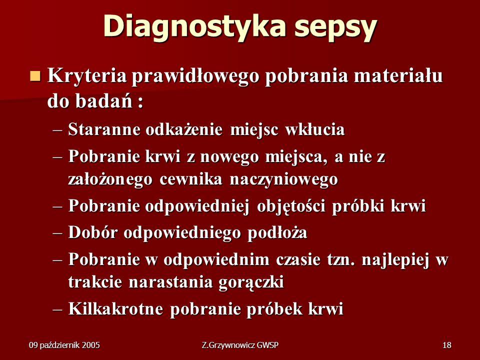 Diagnostyka sepsy Kryteria prawidłowego pobrania materiału do badań :