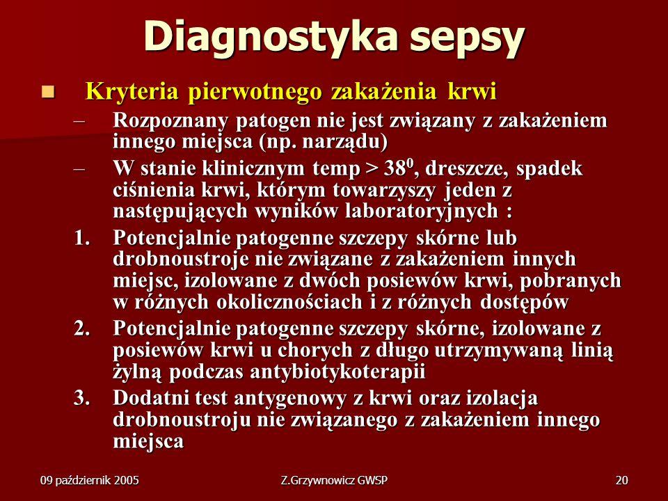 Diagnostyka sepsy Kryteria pierwotnego zakażenia krwi