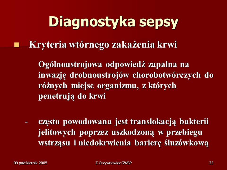 Diagnostyka sepsy Kryteria wtórnego zakażenia krwi