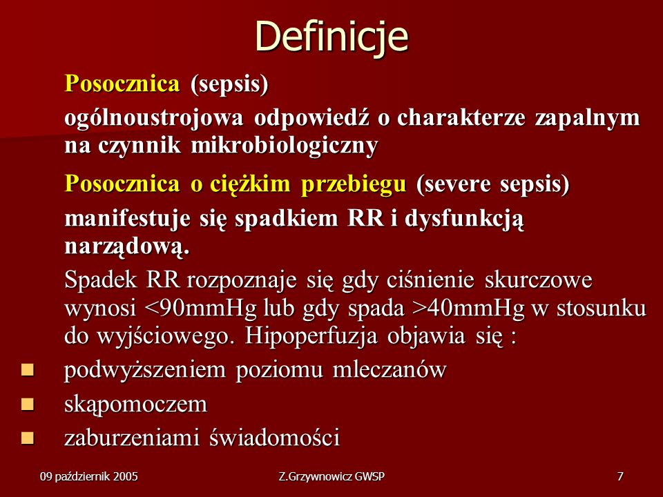 Definicje Posocznica (sepsis)