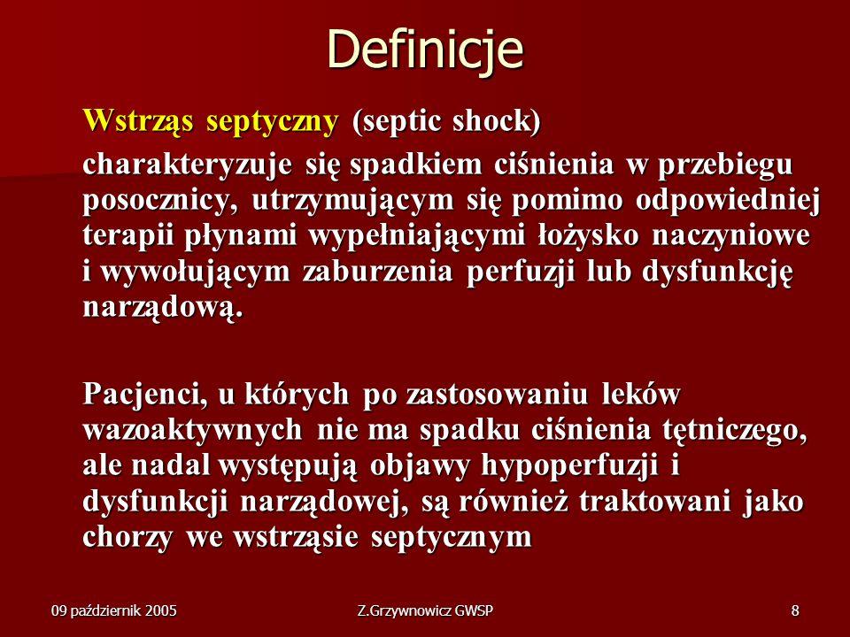 Definicje Wstrząs septyczny (septic shock)