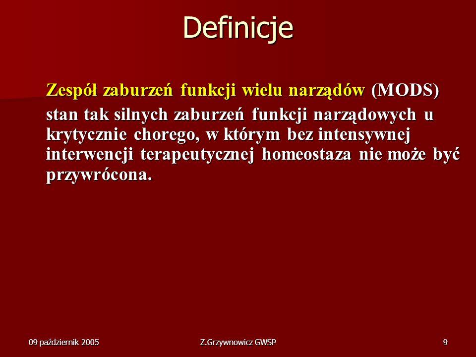 Definicje Zespół zaburzeń funkcji wielu narządów (MODS)