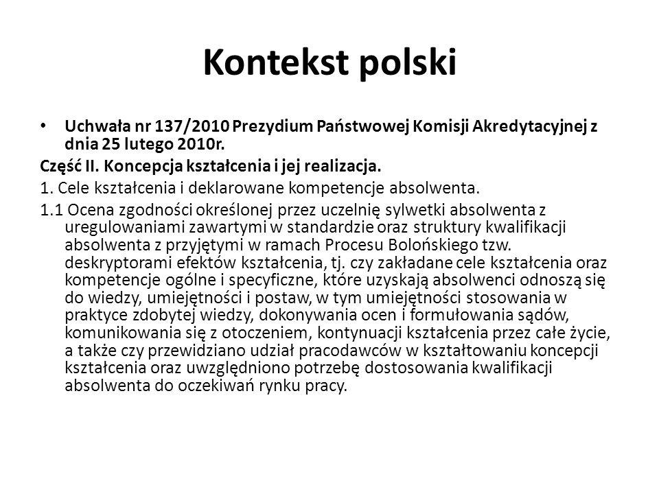 Kontekst polski Uchwała nr 137/2010 Prezydium Państwowej Komisji Akredytacyjnej z dnia 25 lutego 2010r.