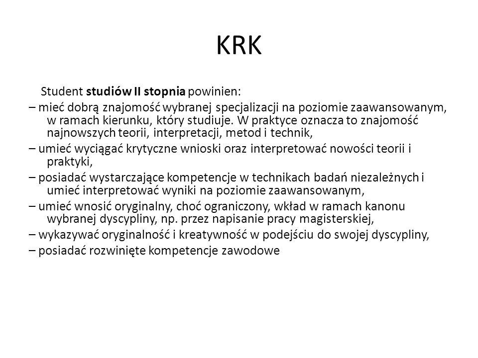 KRK Student studiów II stopnia powinien:
