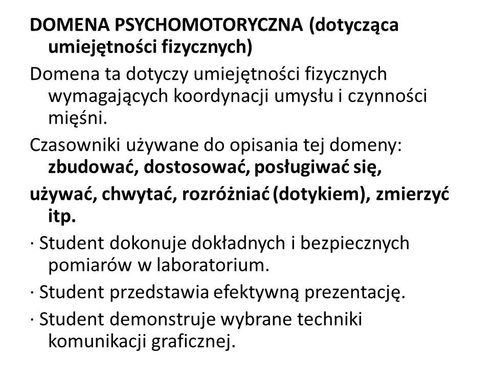 DOMENA PSYCHOMOTORYCZNA (dotycząca umiejętności fizycznych) Domena ta dotyczy umiejętności fizycznych wymagających koordynacji umysłu i czynności mięśni.