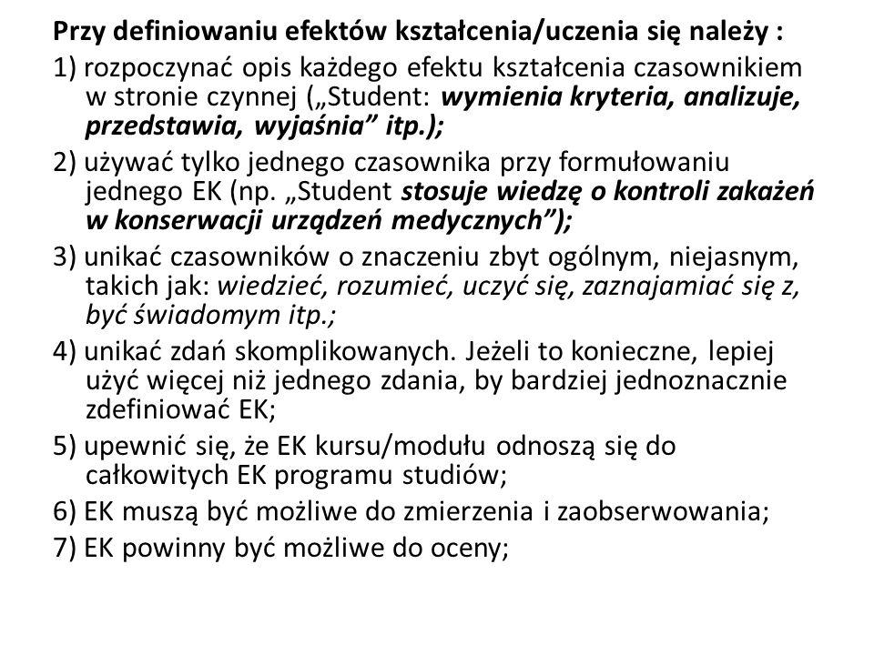 """Przy definiowaniu efektów kształcenia/uczenia się należy : 1) rozpoczynać opis każdego efektu kształcenia czasownikiem w stronie czynnej (""""Student: wymienia kryteria, analizuje, przedstawia, wyjaśnia itp.); 2) używać tylko jednego czasownika przy formułowaniu jednego EK (np."""