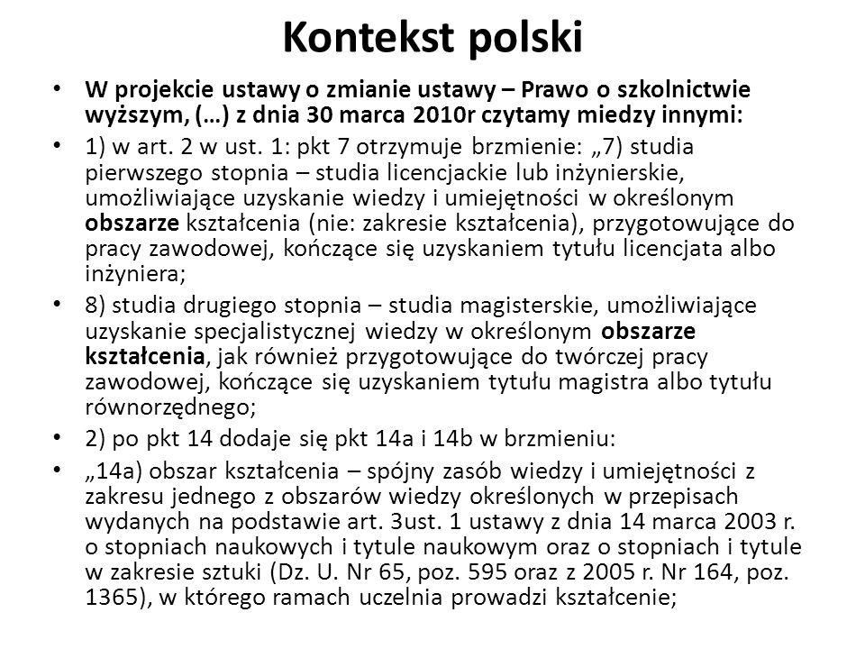 Kontekst polski W projekcie ustawy o zmianie ustawy – Prawo o szkolnictwie wyższym, (…) z dnia 30 marca 2010r czytamy miedzy innymi: