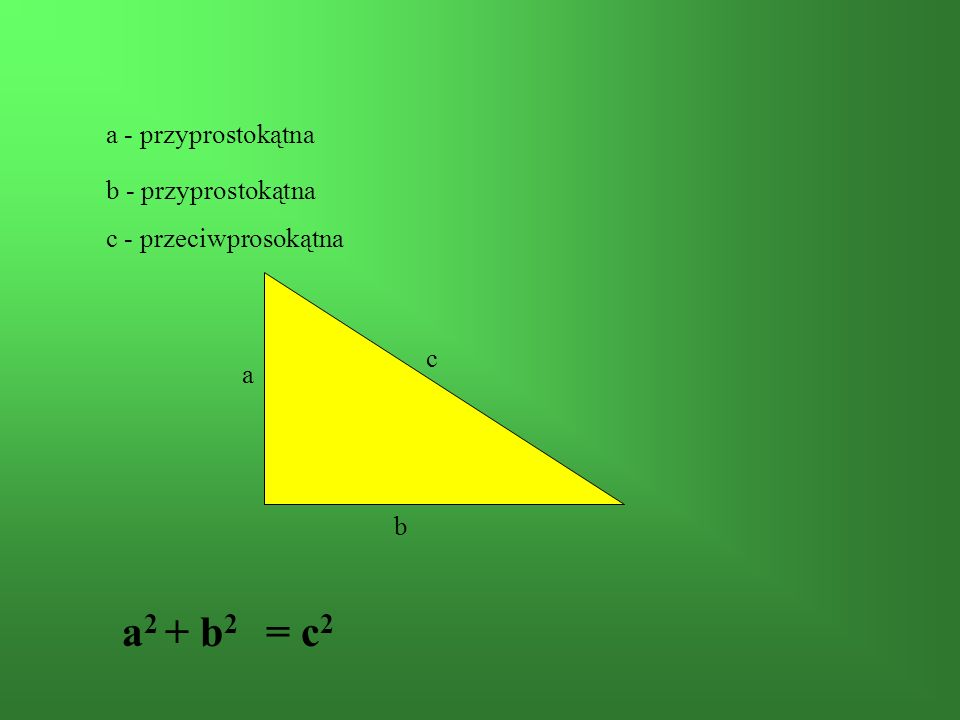 a2 + b2 = c2 a - przyprostokątna b - przyprostokątna