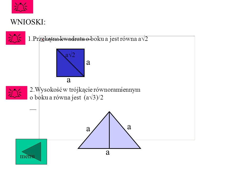   a a  a a a WNIOSKI: 1.Przekątna kwadratu o boku a jest równa a2