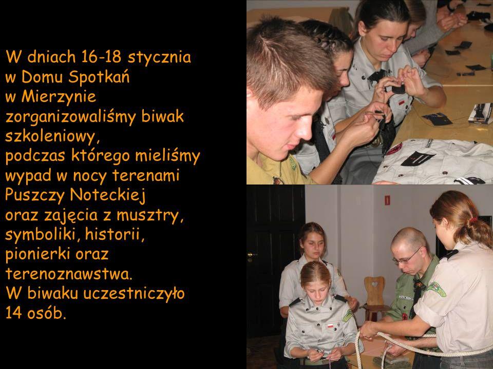 W dniach 16-18 stycznia w Domu Spotkań. w Mierzynie zorganizowaliśmy biwak szkoleniowy,
