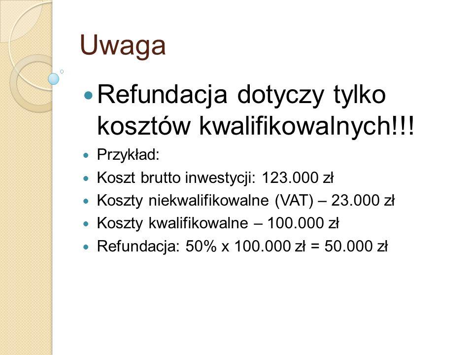 Uwaga Refundacja dotyczy tylko kosztów kwalifikowalnych!!! Przykład: