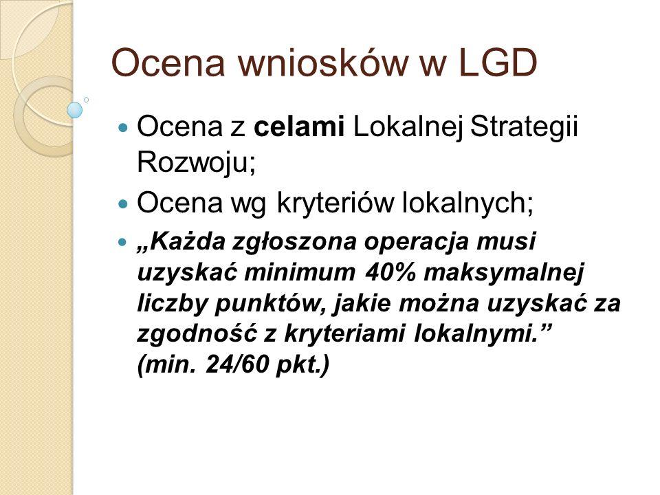 Ocena wniosków w LGD Ocena z celami Lokalnej Strategii Rozwoju;