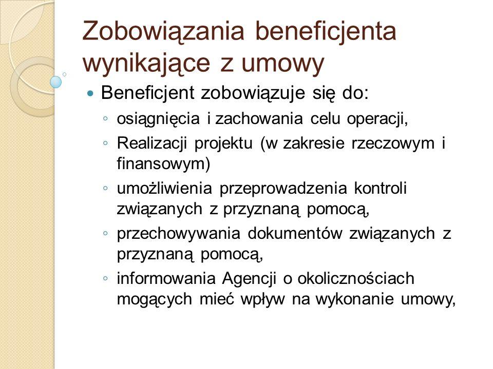Zobowiązania beneficjenta wynikające z umowy