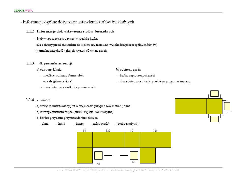 - Informacje ogólne dotyczące ustawienia stołów biesiadnych