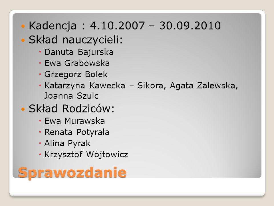 Sprawozdanie Kadencja : 4.10.2007 – 30.09.2010 Skład nauczycieli: