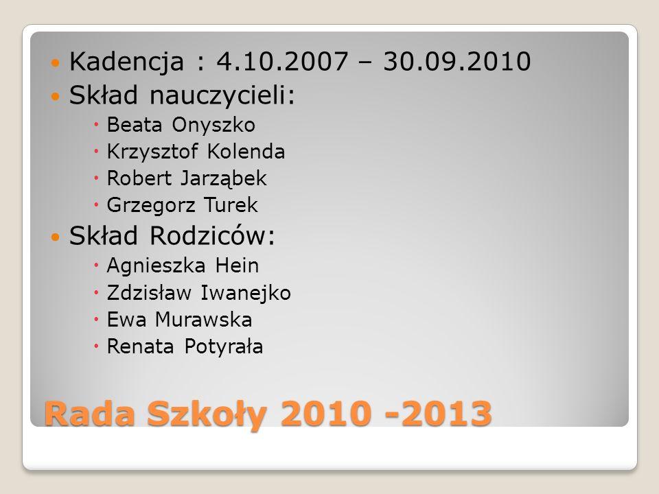 Rada Szkoły 2010 -2013 Kadencja : 4.10.2007 – 30.09.2010