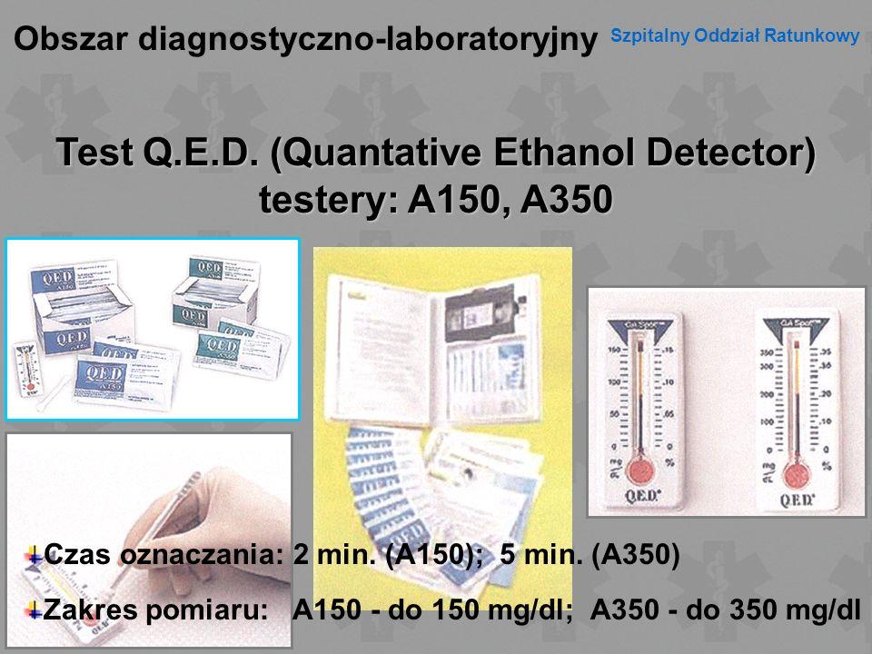 Test Q.E.D. (Quantative Ethanol Detector) testery: A150, A350