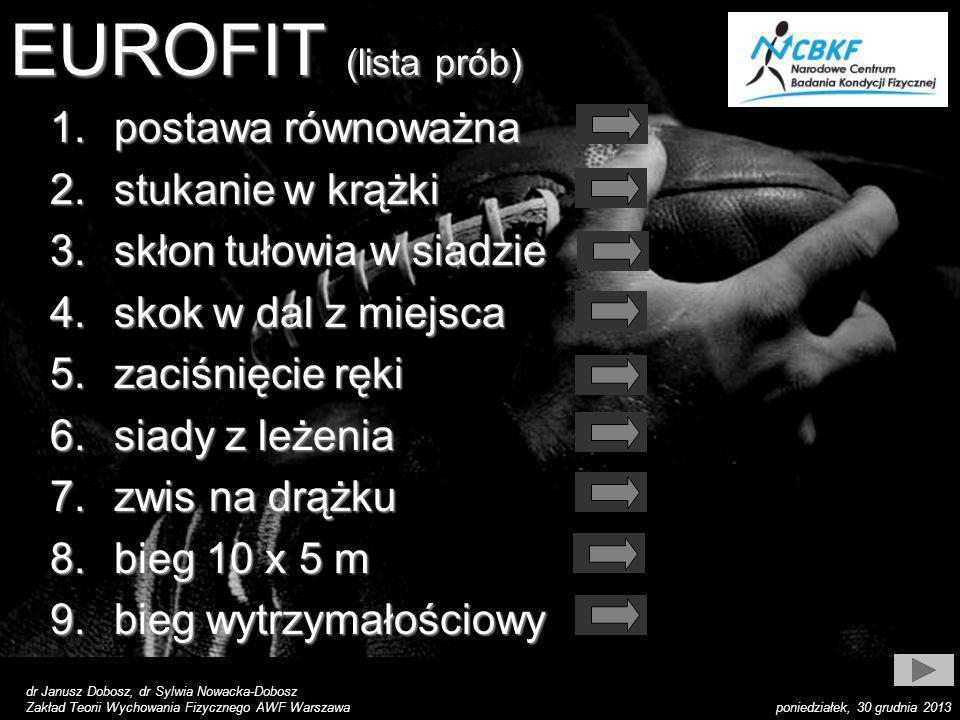 EUROFIT (lista prób) postawa równoważna stukanie w krążki