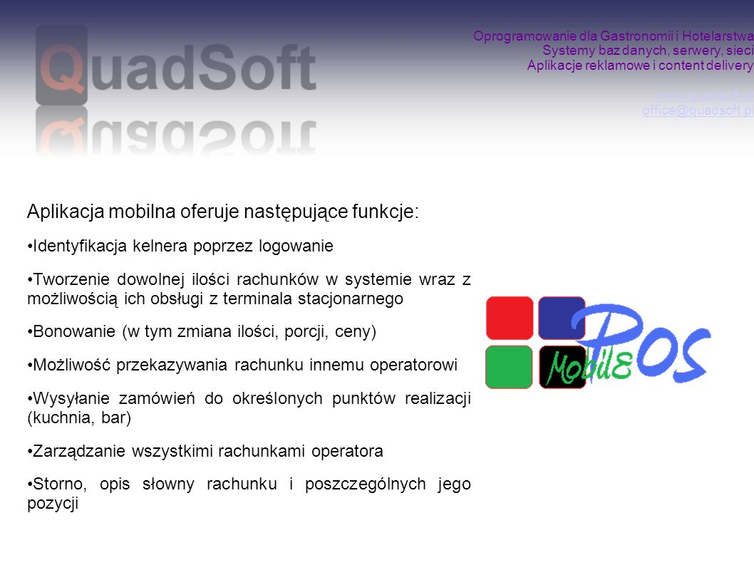 Aplikacja mobilna oferuje następujące funkcje: