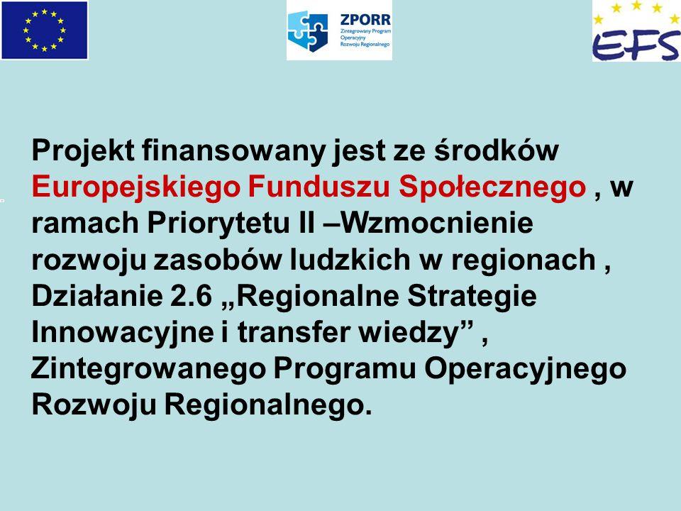 """Projekt finansowany jest ze środków Europejskiego Funduszu Społecznego , w ramach Priorytetu II –Wzmocnienie rozwoju zasobów ludzkich w regionach , Działanie 2.6 """"Regionalne Strategie Innowacyjne i transfer wiedzy , Zintegrowanego Programu Operacyjnego Rozwoju Regionalnego."""