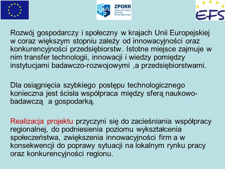 Rozwój gospodarczy i społeczny w krajach Unii Europejskiej w coraz większym stopniu zależy od innowacyjności oraz konkurencyjności przedsiębiorstw. Istotne miejsce zajmuje w nim transfer technologii, innowacji i wiedzy pomiędzy instytucjami badawczo-rozwojowymi ,a przedsiębiorstwami.