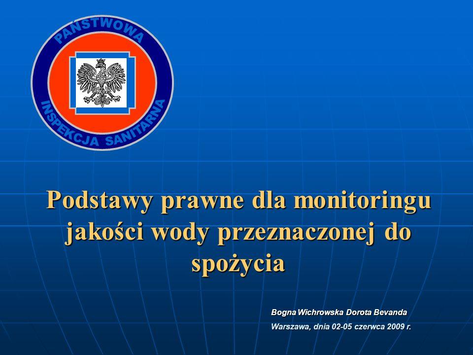 Podstawy prawne dla monitoringu jakości wody przeznaczonej do spożycia