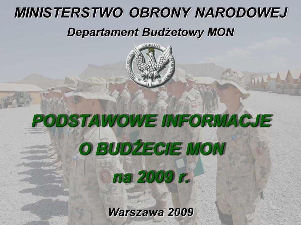 PODSTAWOWE INFORMACJE O BUDŻECIE MON na 2009 r.