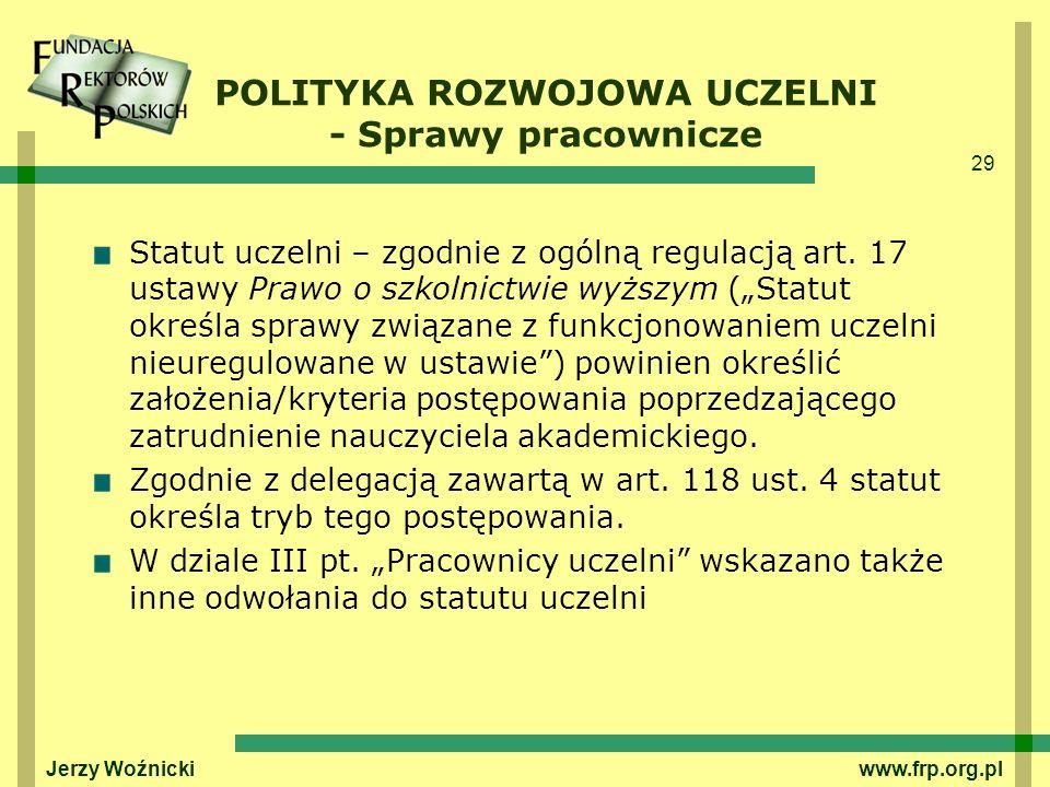 POLITYKA ROZWOJOWA UCZELNI - Sprawy pracownicze